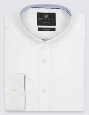 M&S Pure Cotton Easy to Iron Tailored Fit Shirt.