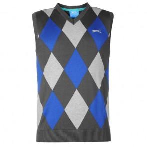Slazenger Argyle Knitted Vest Mens - Charcoal/Blue.