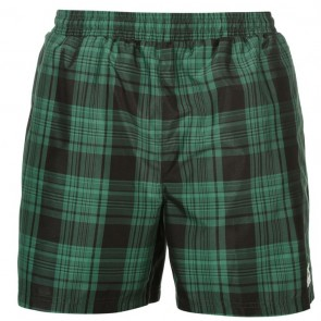 Slazenger Checked Swim Shorts Mens - Green.
