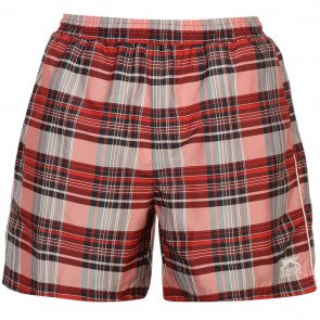 Slazenger Checked Swim Shorts Mens - Red.