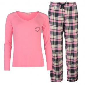 SoulCal Long Sleeve Pyjama Set Ladies - Pink Check.