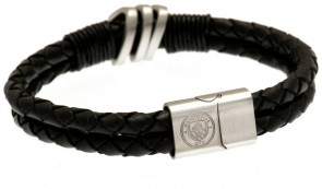 Stainless Steel and Leather Man City Bracelet