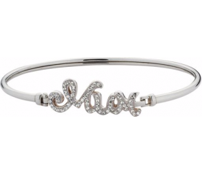 Moon & Back Sterling Silver Crystal 'Mum' Bangle