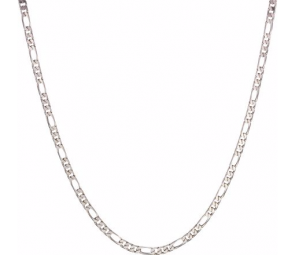 Sterling Silver Solid Diamond Figaro Chain