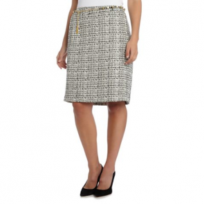 Tahari ASL Belted Boucle Skirt - Multi Colour.