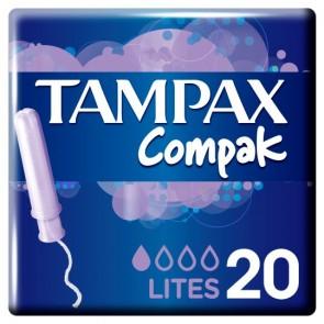 Tampax Compak Applicator Lite Tampons 20 Pack.