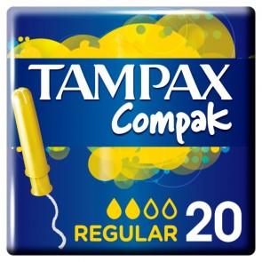 Tampax Compak Applicator Regular Tampons 20 Pack.