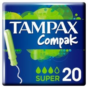Tampax Compak Applicator Super Tampons 20 Pack.