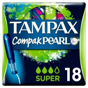 Tampax Compak Pearl Applicator Super Tampons 18 Pack.