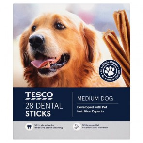 Tesco 28 Dental Sticks Medium Dog 720G