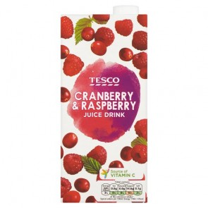 Tesco Cranberry And Raspberry Juice Drink 1 Litre.