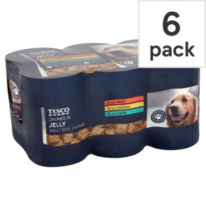 Tesco Dog Food Chunks In Jelly Selection 6 X400g