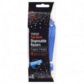 Tesco Fixed Head Twin Blade Disposable Rzrs 10'S