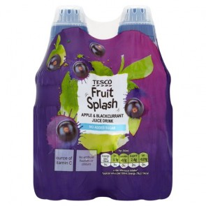 Tesco Fruit Splash Apple & Blackcurrant 4X250ml