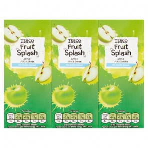 Tesco Fruit Splash Apple Juice Drink No Added Sugar 3X250ml