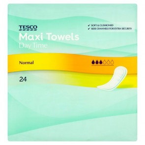 Tesco Maxi Regular Sanitary Towels 24 Pack.
