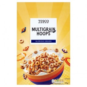 Tesco Multigrain Hoops Cereal 375G