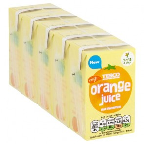 Tesco Pure Orange Juice 5X150ml