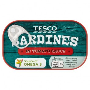 Tesco Skinless & Boneless Sardines In Tomato Sauce 90G