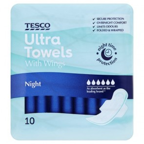Tesco Ultra Night Sanitary Towels 10 Pack.
