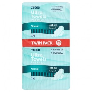 Tesco Ultra Regular Sanitary Towels 28 Pack.