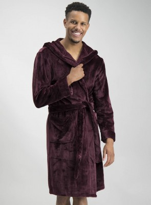 Burgundy Super Soft Hooded Dressing Gown