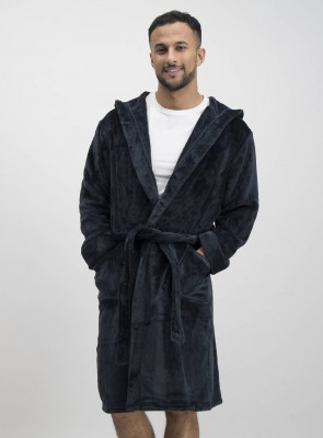 Black Super Soft Hooded Dressing Gown