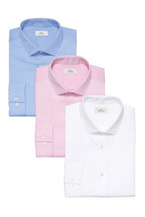 Next White, Blue And Pink Textured Shirts Three Pack.