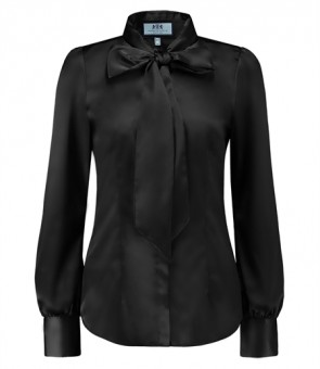 WOMEN'S BLACK FITTED SATIN BLOUSE - PUSSY BOW.