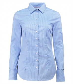 WOMEN'S BLUE & WHITE SMALL CHECK FITTED SHIRT - SINGLE CUFF.