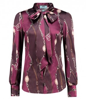 WOMEN'S BURGUNDY FINSBURY ROSE PRINT FITTED SATIN SHIRT - PUSSY BOW.