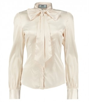 WOMEN'S CREAM FITTED SATIN BLOUSE - PUSSY BOW.