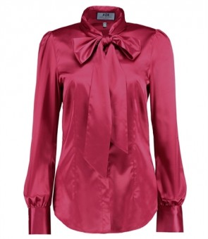 WOMEN'S DARK ROSE FITTED SATIN BLOUSE - PUSSY BOW.