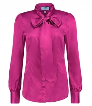 WOMEN'S FUCHSIA FITTED SATIN BLOUSE - PUSSY BOW.