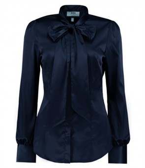 WOMEN'S NAVY FITTED LUXURY SATIN BLOUSE - PUSSY BOW.