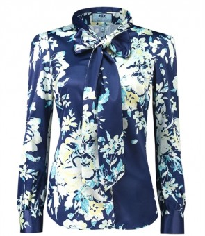 WOMEN'S NAVY & YELLOW FLORAL SEMI-FITTED SATIN BLOUSE - PUSSY BOW.