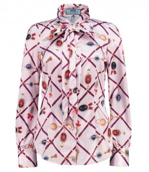 WOMEN'S PINK & PURPLE JEMINA JEWELS PRINT FITTED SATIN SHIRT - PUSSY BOW.