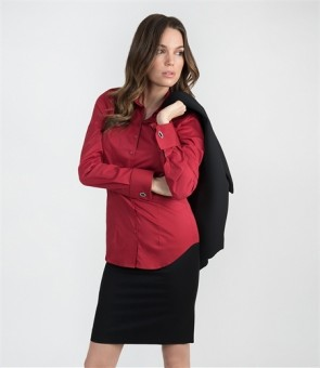 WOMEN'S RED FITTED COTTON STRETCH SHIRT - DOUBLE CUFF.