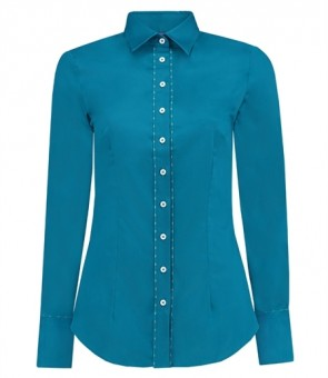WOMEN'S TURKISH TILE FITTED SHIRT WITH CONTRAST DETAIL - SINGLE CUFF.